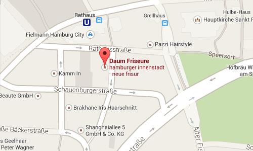 Standort von DAUM Friseure in der Hamburger Innenstadt
